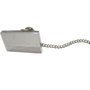 Silver Toned Etched Boat Tie Tack